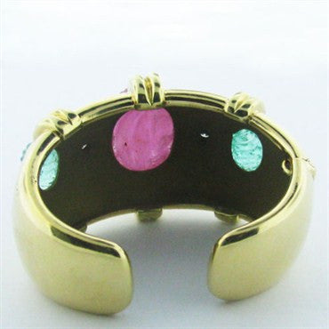 thumbnail image of Tambetti 18k Gold Carved Ruby Emerald Diamond Cuff Bracelet