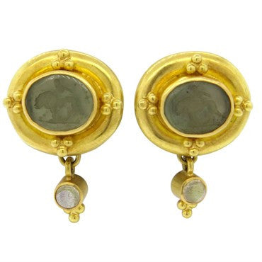 image of Elizabeth Locke Intaglio Venetian Glass Moonstone Gold Earrings