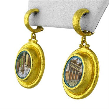 thumbnail image of New Gurhan 24K Gold One Of A Kind Micro Mosaic Earrings