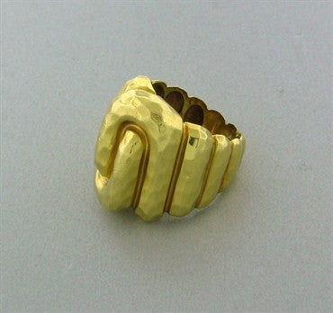 image of Estate Henry Dunay 18K Yellow Gold Hammered Finish Ring