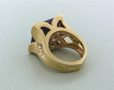 image of Rayner 18K Yellow Gold Amethyst Diamond Ring