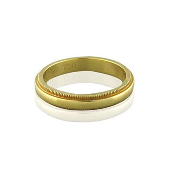 image of Tiffany & Co Milgrain 3mm 18K Gold Wedding Band Ring