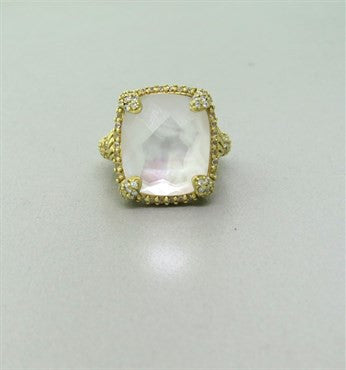 image of Judith Ripka 18k Gold 1.10ctw Diamond Mother of Pearl Glacier Ring