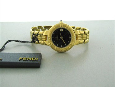 image of Fendi Womens Black Dial 18k Gold Plated Stainless Steel Watch F93230
