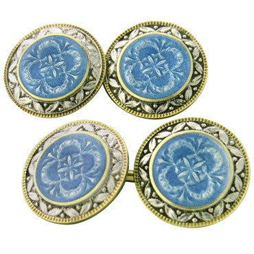 image of Art Deco Guilloche Enamel Gold Cufflinks