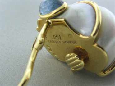 thumbnail image of Seaman Schepps 18K Yellow Gold Seashell Sapphire Cabochon Earrings