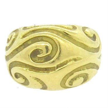 image of Elizabeth Gage 18k Gold Swirl Motif Dome Ring