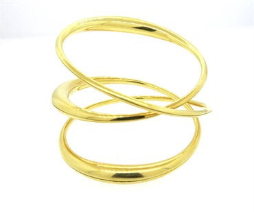 thumbnail image of Michael Good 18k Gold Wide Twist Bangle Bracelet