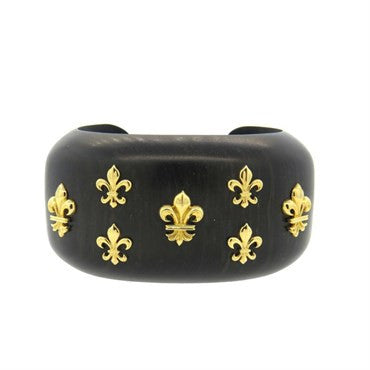 image of Trianon Large Wood Gold Fleur de Lis Cuff Bracelet
