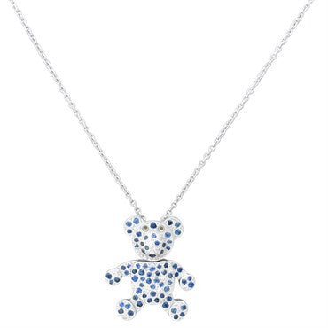 thumbnail image of New Pomellato Orsetto 18k Gold Diamond Sapphire Bear Pendant Necklace