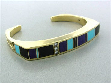thumbnail image of Ray Tracey 14K Gold Diamond Turquoise Onyx Sugilite Cuff Bracelet