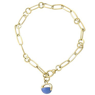 image of New Pomellato Luna 18k Gold Chalcedony Pendant Link Necklace