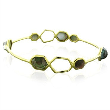 image of New Ippolita 18K Gold Rock Candy Open Frame Black Shell Bracelet