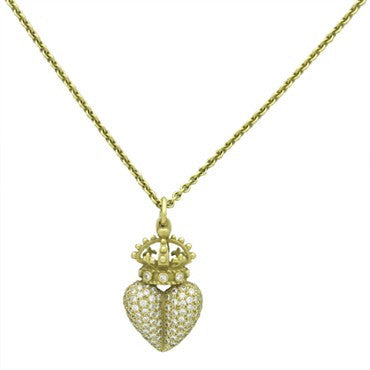 thumbnail image of Barry Kieselstein Cord Diamond Gold Crown Heart Pendant Necklace
