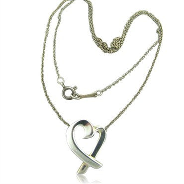 image of Estate Tiffany & Co Picasso Loving Heart Pendant Chain Necklace