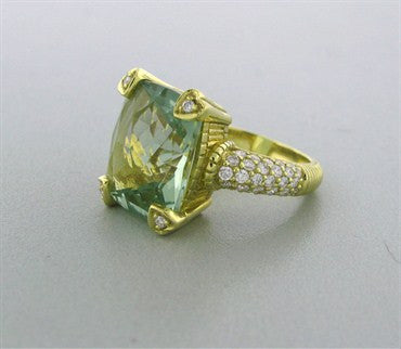 thumbnail image of Judith Ripka 18k Yellow Gold Prasiolite Diamond Heart Prong Ring