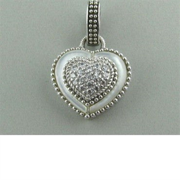 thumbnail image of Judith Ripka Sterling Mop CZ Heart Charm Pendant