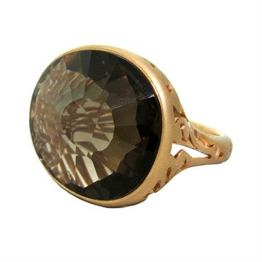 image of New Pomellato Arabesque Smokey Quartz 18k Gold Ring