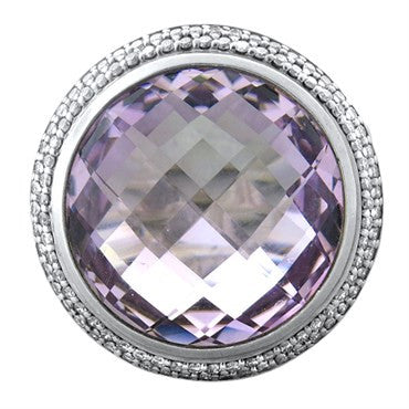 image of David Yurman Cerise Sterling Silver Diamond Amethyst Ring