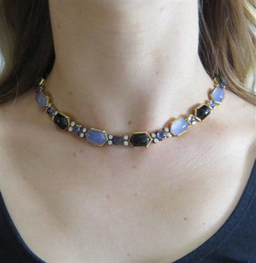 thumbnail image of Fine 18k Gold Onyx Iolite Chalcedony 2.00ctw Diamond Necklace