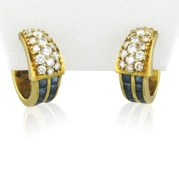 thumbnail image of Hammerman Brothers 18k Gold Diamond Sapphire Earrings