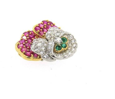 thumbnail image of Exquisite Tiffany & Co Platinum Gold Ruby Diamond Emerald Pansy Flower