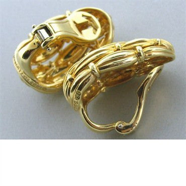 thumbnail image of Large Circa 1992 Vintage Tiffany & Co 18k Gold Earrings