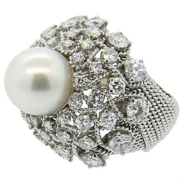 thumbnail image of South Sea Pearl Diamond Gold Cocktail Ring