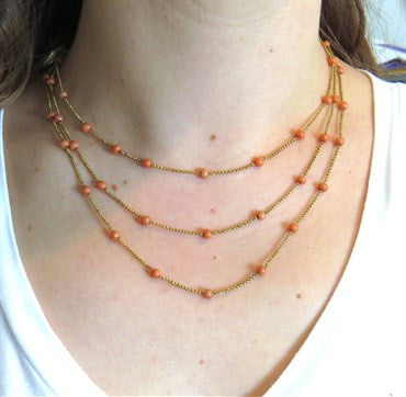 image of Antique Victorian Coral Bead 14k Gold Multi Strand Necklace