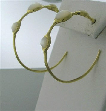 image of Ippolita 18K Gold Mother Of Pearl Hoop Earrings