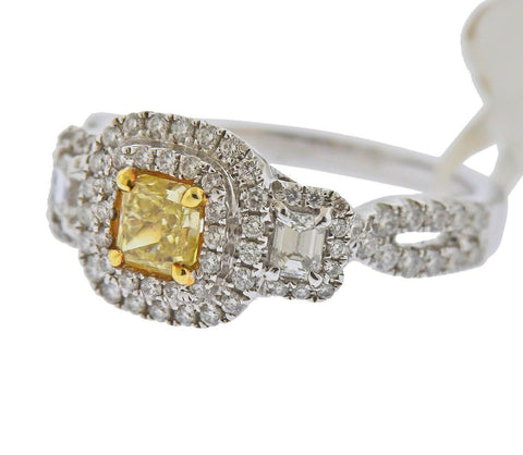 image of Dalumi GIA 1.30ctw Fancy Yellow Diamond Gold Engagement Ring
