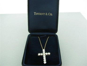 image of Tiffany & Co 18k Gold 1.87ctw Diamond Cross Pendant Necklace