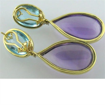 thumbnail image of Faraone Mennella 18k Topaz Amethyst Diamond Earrings