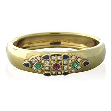 thumbnail image of Circa 1994 Cartier 18K Gold Ruby Emerald Sapphire Diamond Bracelet