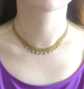 thumbnail image of Antique Pearl 14k Gold Fringe Necklace