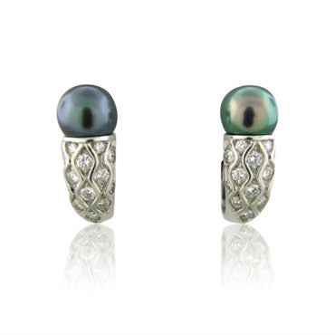 image of New Gumuchian Platinum Diamond Tahitian Pearl Gondola Earrings
