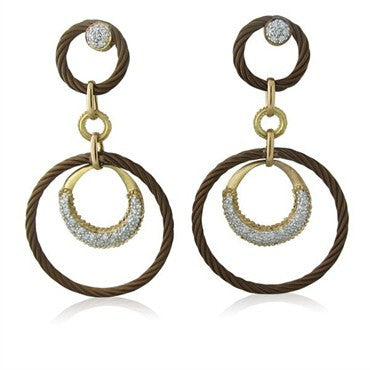 image of New Charriol Link Celtique 18K Gold Bronze Steel Diamond Earrings