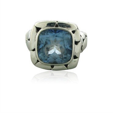 image of Estate John Hardy Sterling Silver Kali Collection Blue Topaz Ring