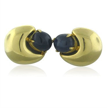 thumbnail image of Seaman Schepps 18K Yellow Gold Sapphire Cabochon Earrings