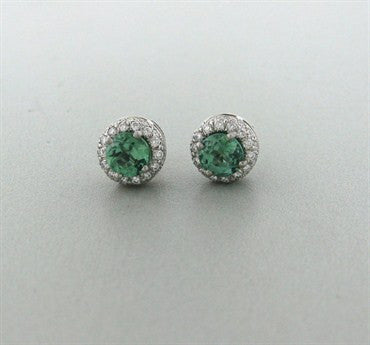 image of Gumuchian Halo Platinum 0.77ctw Diamond 2.23ct Tourmaline Earrings