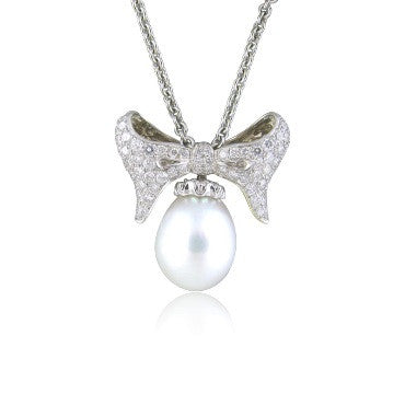 image of Morelli 18k White Gold Pearl Diamond Necklace
