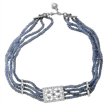 image of Judith Ripka Duchess Collection Tanzanite Diamond Choker Necklace