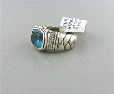 thumbnail image of Scott Kay Sterling Silver Blue Topaz Diamond Ring