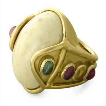 image of Large Roberge 18K Gold Multi Color Gemstone Bone Ring