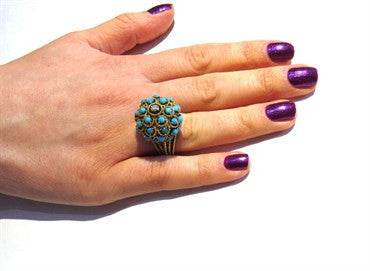 thumbnail image of 1960s 18k Gold Turquoise Diamond Large Ring
