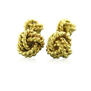 image of Estate Tiffany & Co 18k Yellow Gold Knot Cufflinks