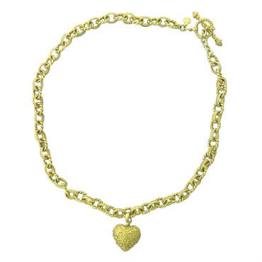 image of Cynthia Bach 18K Gold Heart Charm Toggle Necklace