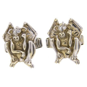 thumbnail image of Lindsay & Co. Whimsical Diamond 14k Gold Winged Goblin Cufflinks