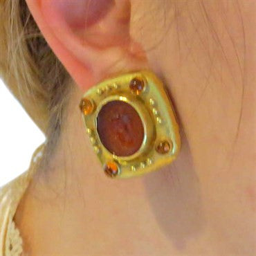 thumbnail image of Elizabeth Locke Carnelian Intaglio Citrine Gold Earrings