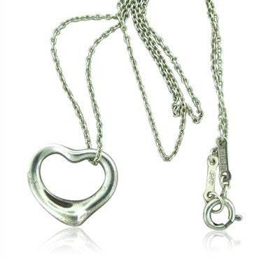 image of Estate Tiffany & Co Peretti Sterling Heart Pendant Chain Necklace